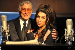 Tony Bennett is joined by Amy Winehouse to record a track for his forthcomming duets album at London's Abbey Rd Studios on 23/3/11. Photo by Mark Allan